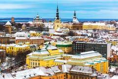 De winterlandschap van Tallinn, Estland royalty-vrije stock foto