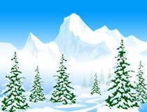 De winterlandschap - Vectorilustration royalty-vrije illustratie