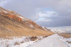 De winterlandweg Stock Foto's
