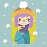 De wintermeisje met toverstokje Stock Foto