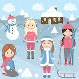 De wintermeisjes Stock Fotografie