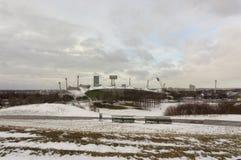 De wintermening in Olympiapark München Munchen Duitsland Stock Afbeeldingen