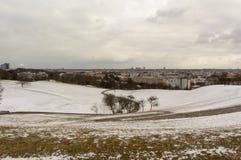 De wintermening in Olympiapark München Munchen Duitsland Stock Foto