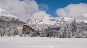 De wintermening van bevroren sneeuw behandelde oppervlakte van Strbske Pleso Stock Foto's