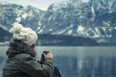 De de wintermening van Hallstatter ziet royalty-vrije stock foto's