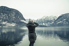 De de wintermening van Hallstatter ziet stock foto's