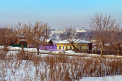 De wintermening van het oude centrum van stad kamensk-Uralsky Rusland Stock Fotografie