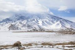 De wintermening van Mustagh Ata Mountain stock afbeelding
