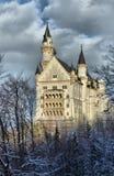 De wintermening van Neuschwanstein-kasteel Stock Afbeeldingen