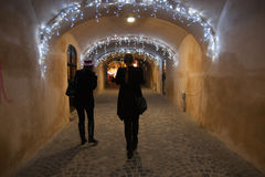 De winternacht in Brasov Royalty-vrije Stock Afbeeldingen