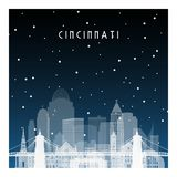 De winternacht in Cincinnati vector illustratie