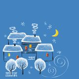 De winternacht in het dorp royalty-vrije illustratie
