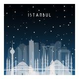 De winternacht in Istanboel stock illustratie