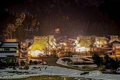 De winternacht in Kayabuki geen Sato in Miyama Stock Afbeelding