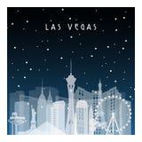 De winternacht in Las Vegas stock illustratie