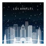 De winternacht in Los Angeles stock illustratie