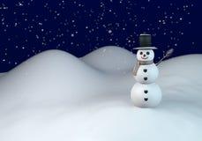 De winternacht met sneeuwman Stock Afbeeldingen