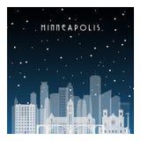 De winternacht in Minneapolis stock illustratie