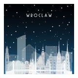 De winternacht in Wroclaw stock illustratie