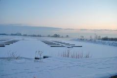 De winterochtend bij jachtjachthaven Royalty-vrije Stock Afbeeldingen