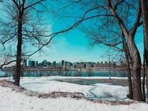 De winterochtend in Quebec Montreal Royalty-vrije Stock Afbeelding