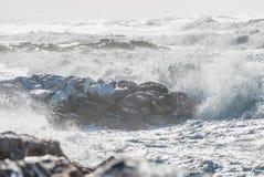 De winteronweer tegen het strand Golven en Wind Stock Foto