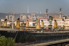 De winteropslag van de Kaspische Vloot stock foto