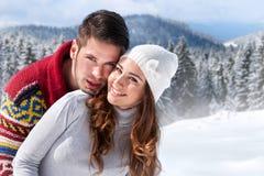 De winterpaar royalty-vrije stock afbeelding