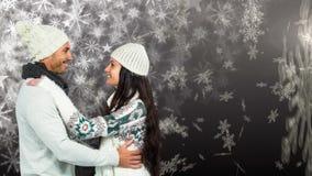 De winterpaar met sneeuwvlokken het vallen stock video