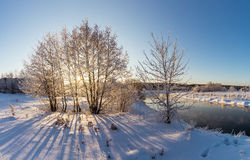 De winterpanorama van de rivier, Rusland, Ural Royalty-vrije Stock Foto
