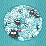 De winterpatroon met uilen en sneeuw. Royalty-vrije Stock Foto
