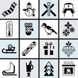 De winterpictogrammen geplaatst zwart Stock Foto