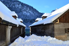 De winterplattelandshuisje Royalty-vrije Stock Afbeelding