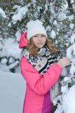 De winterportret in bont-bomen Stock Foto