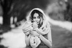 De winterportret: De jonge mooie vrouw kleedde in warme wollen kleren, sjaal en behandelde hoofd die buiten stellen royalty-vrije stock foto's