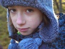 De winterportret van de jongen royalty-vrije stock afbeelding