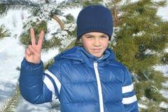 De winterportret van een jongen Stock Foto's