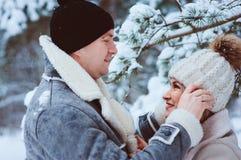 de winterportret van gelukkig romantisch paar die van hun gang in sneeuwbos of park genieten stock afbeelding