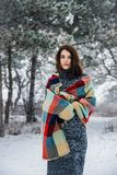 De winterportret van het charmeren van meisje Royalty-vrije Stock Foto's
