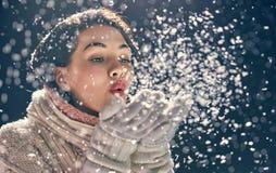 De winterportret van jonge vrouw stock foto's