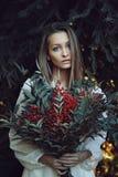 De winterportret van mooie vrouw Royalty-vrije Stock Foto
