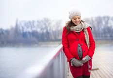 De winterportret van mooie zwangere vrouw Stock Afbeeldingen