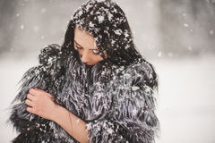 De winterportret van Schoonheidsmeisje met sneeuw stock foto