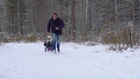 De winterpret, sneeuw, familie het sledding in de wintertijd De vader rolt zijn gelukkige zoon op een slee in het park Warme de w stock video