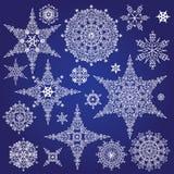De winterreeks van silhouetsneeuwvlokken Vectorkrabbels Stock Foto