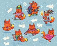 De winterreeks vossenkarakters in beeldverhaalstijl Stock Afbeelding