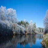 De winterrivier Stock Afbeeldingen