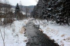 De winterrivier in de bergen Royalty-vrije Stock Fotografie