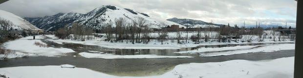 De winterrivier van Missoulamontana Stock Foto