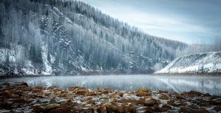 De winterrivieroever in de bergen Stock Foto